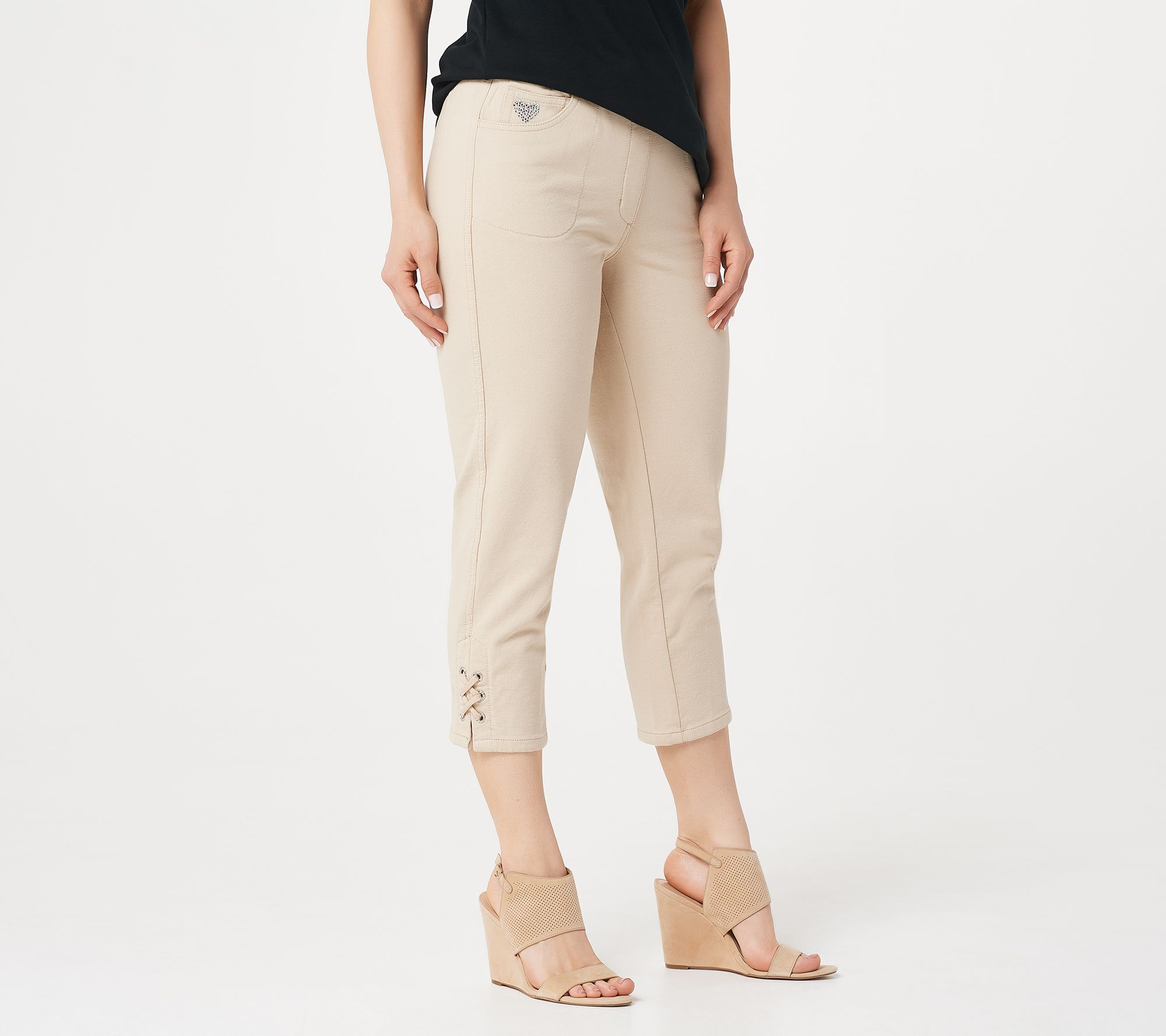 1cd03d502265f Quacker Factory DreamJeannes Grommet Lace Up Crop Pants - Page 1 ...