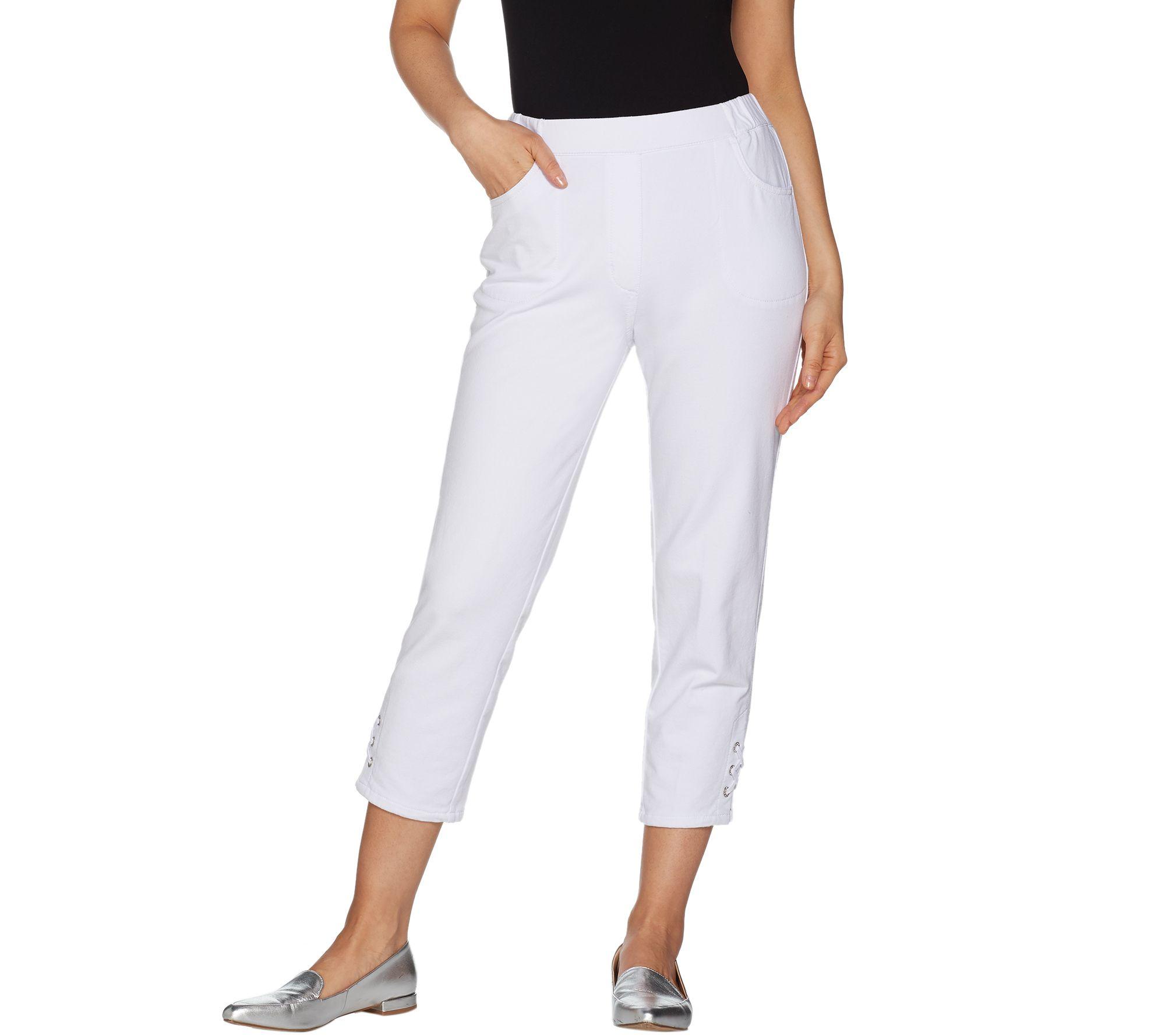 053d6a4de47e3 Quacker Factory DreamJeannes Grommet Lace Up Crop Pants - Page 1 — QVC.com