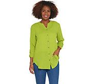 Susan Graver Cotton Gauze Button Front Shirt - A304074