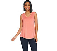H by Halston Essentials V-Neck Tank with Hi-Low Shirttail Hem - A306074