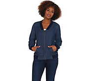 Denim & Co. Stretch Denim Bomber Jacket w/ Zip Front & Rib Trim Detail - A309274