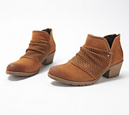 Earth Origins Suede Booties w/ Perforated Ruching - Amanda - A309474