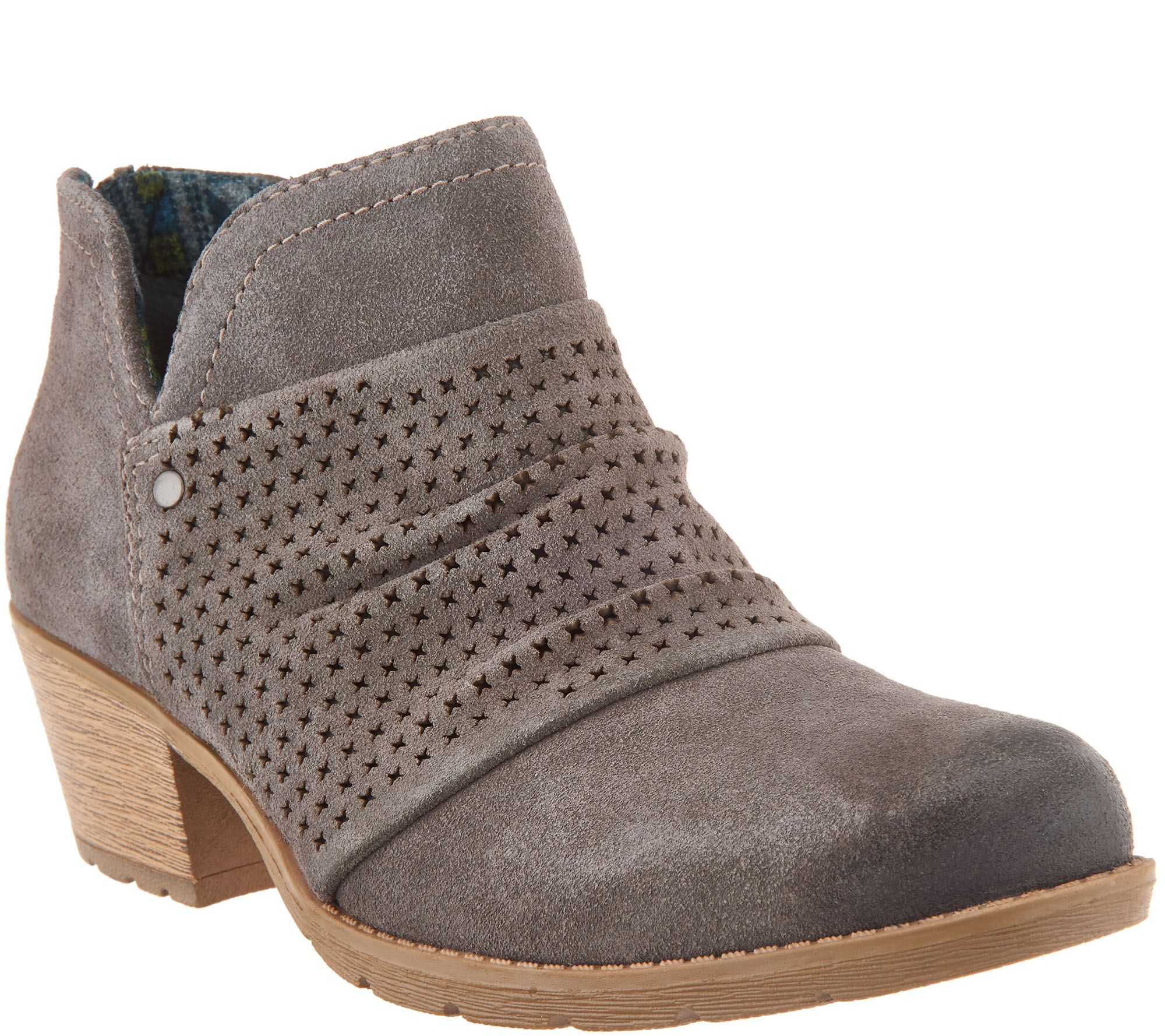 344839ee587 Earth Origins Suede Booties w  Perforated Ruching - Amanda - Page 1 — QVC .com