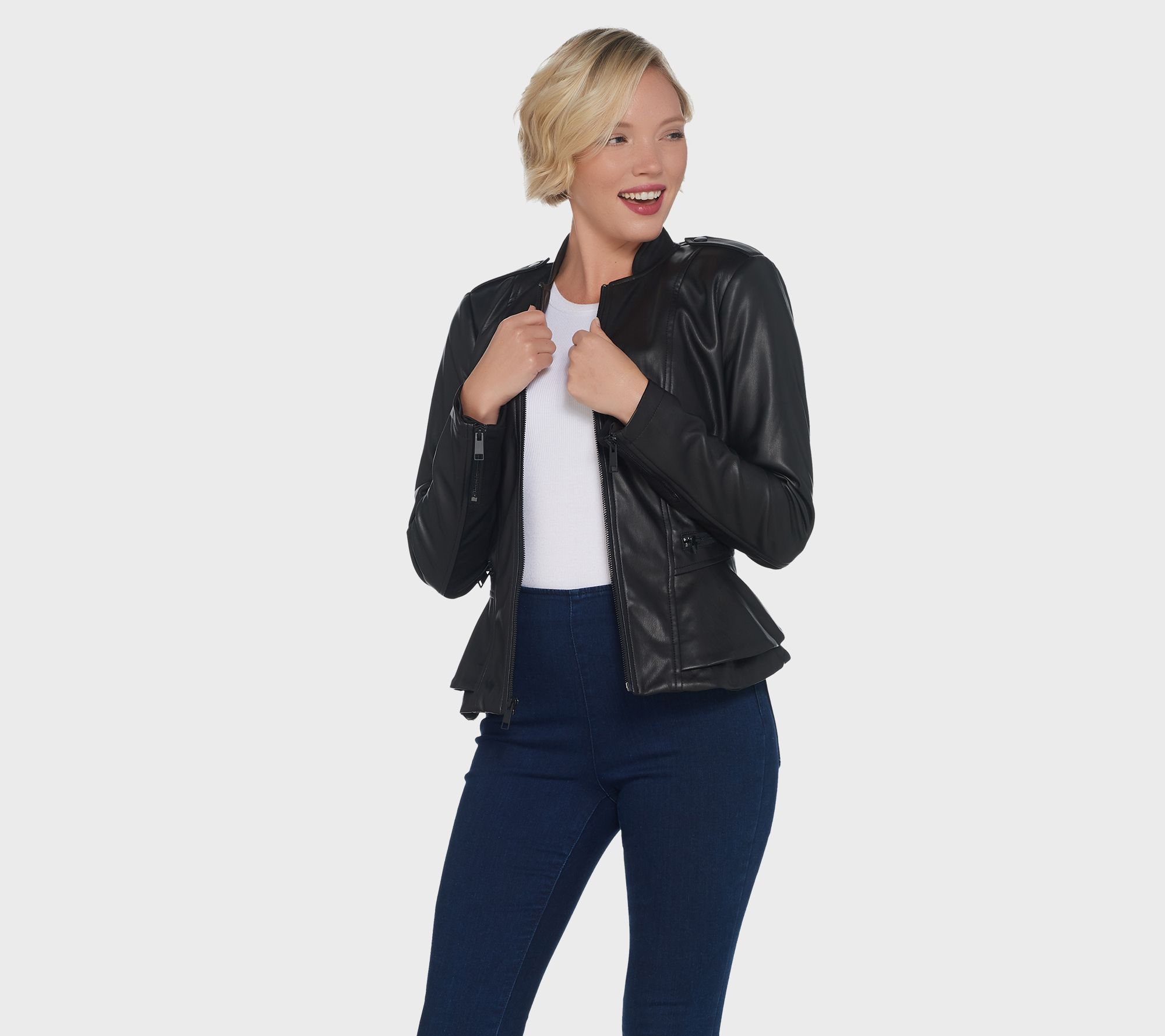 9800eb611 G.I.L.I. Faux Leather Double Peplum Jacket — QVC.com