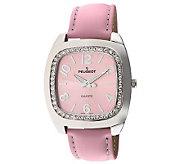 Peugeot Ladies Silvertone Swarovski Crystal Pink Strap Watch - A314774