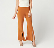 Susan Graver Petite Liquid Knit Pull-On Pants with Slit Detail - A350174