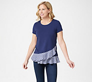 Isaac Mizrahi Live! Short- Sleeve Top with Gingham Ruffles - A352274