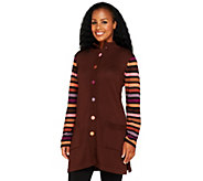 Bob Mackies Striped Sleeve Multi-color Sweater Jacket - A68174