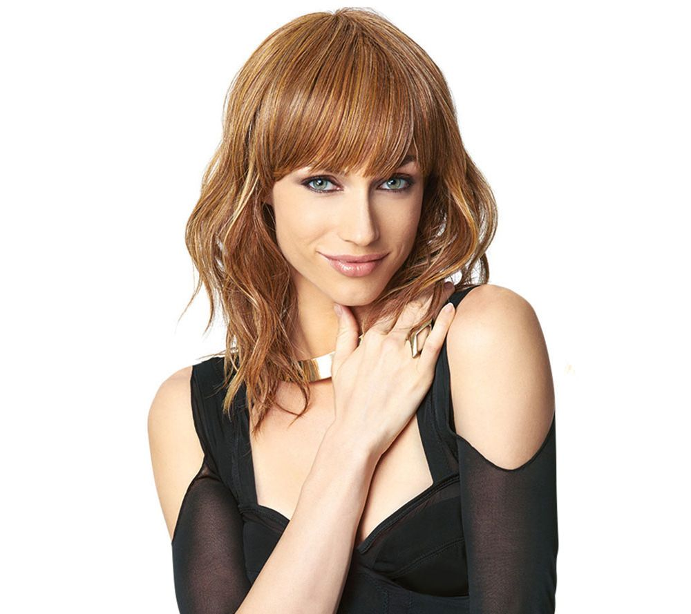how to style slightly wavy hair hairdo wavy cut wig with bangs page 1 qvc 4787