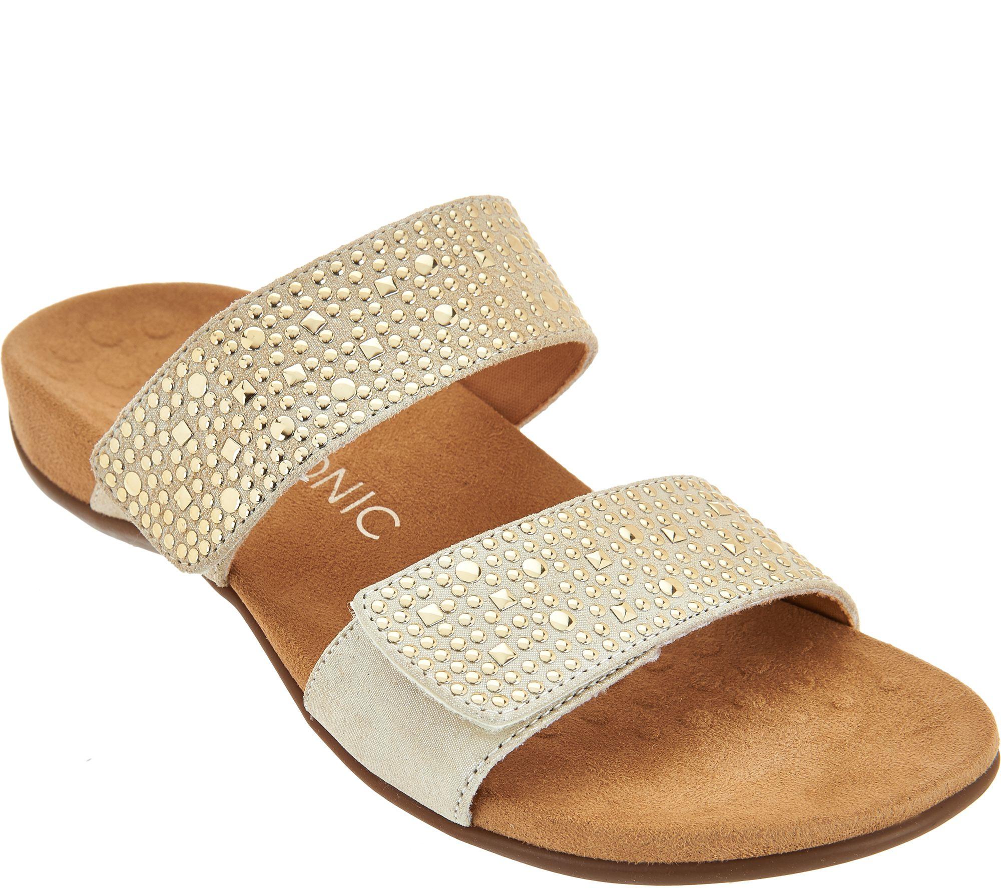 ab9b9cac2c6 Vionic Leather Gored Slide Sandals - Samoa - Page 1 — QVC.com