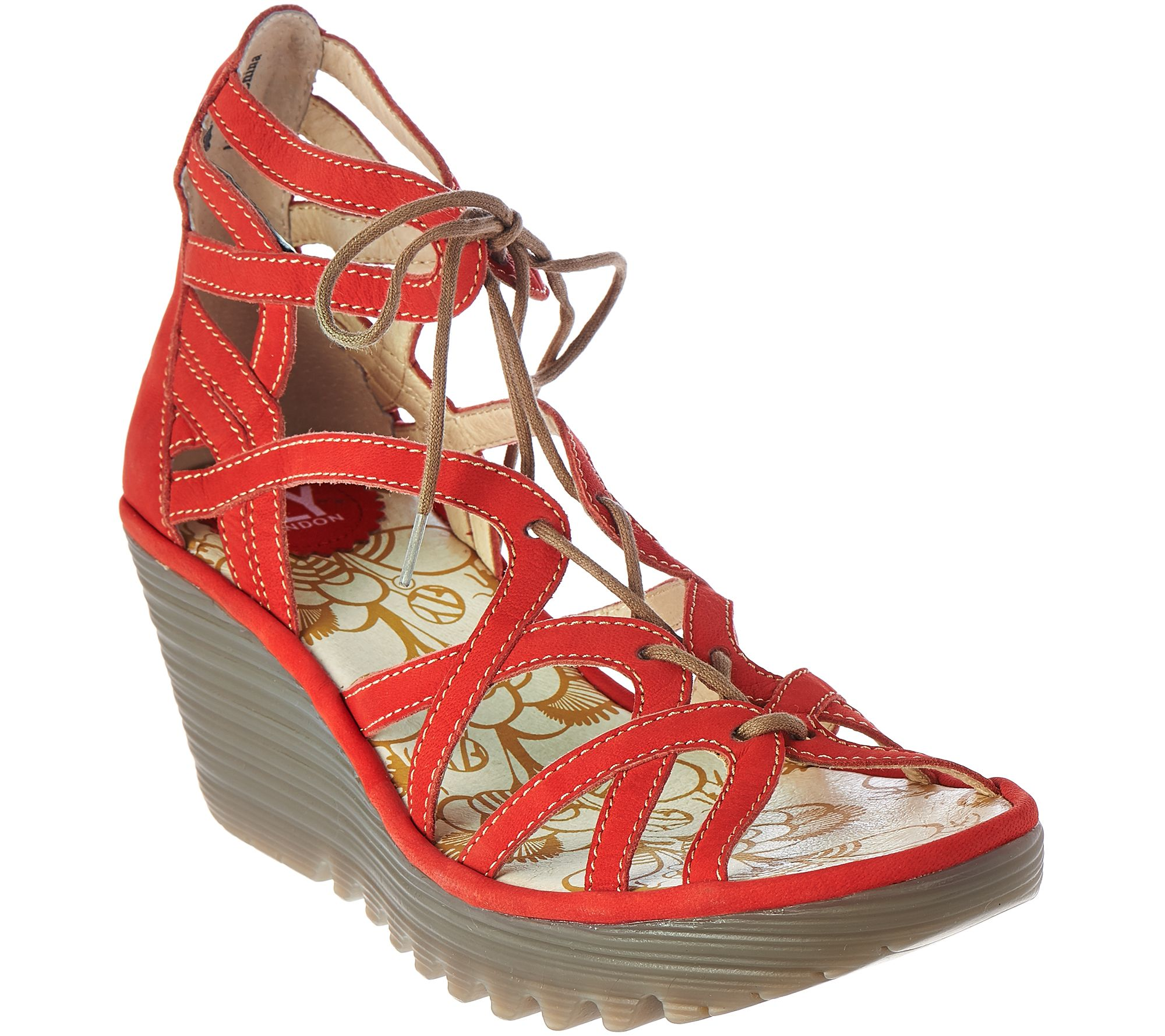 db07a4f3481 FLY London Leather Lace-up Wedge Sandals - Yuke - Page 1 — QVC.com