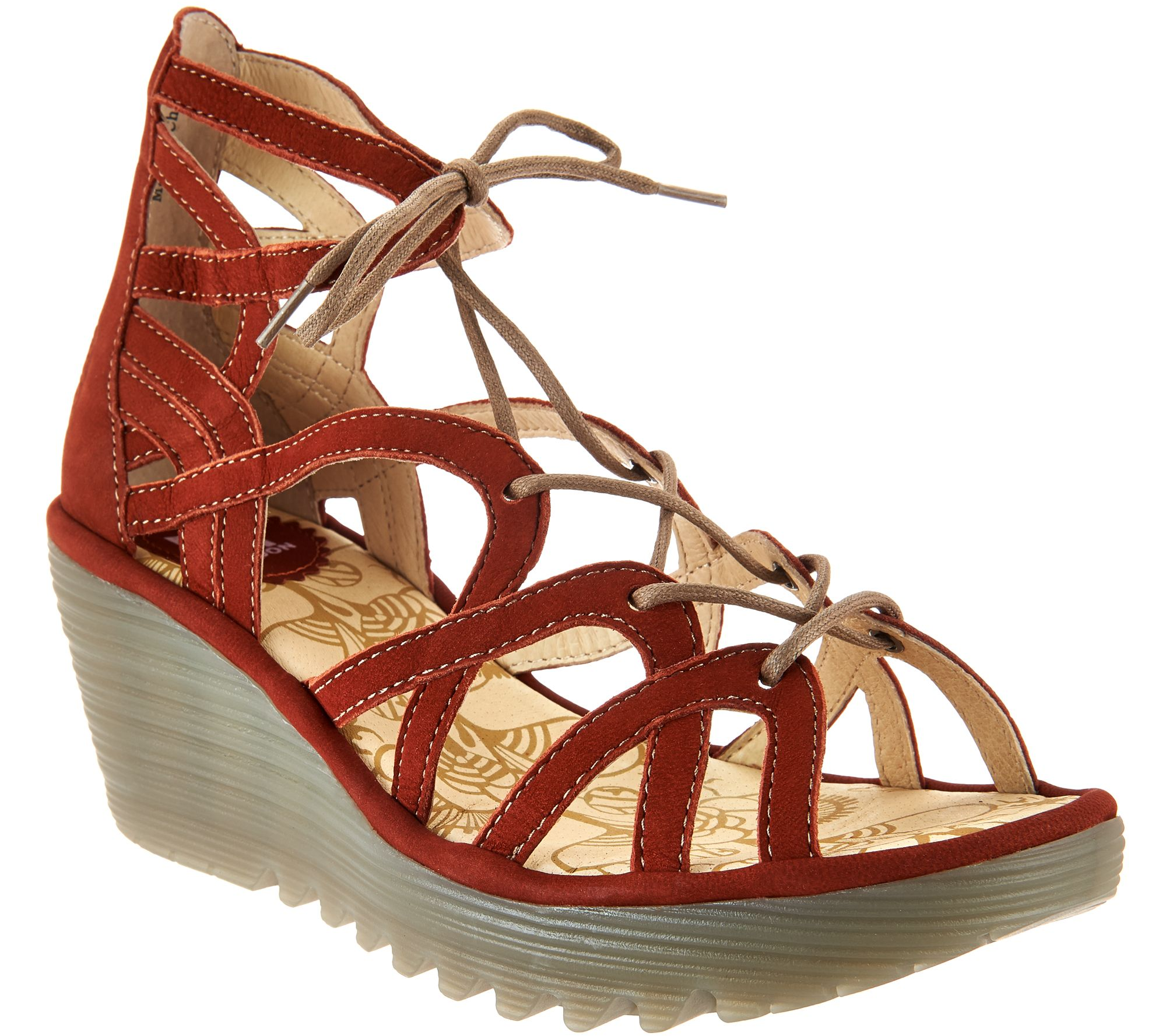 e714ff3a0b3 FLY London Leather Lace-up Wedge Sandals - Yuke - Page 1 — QVC.com