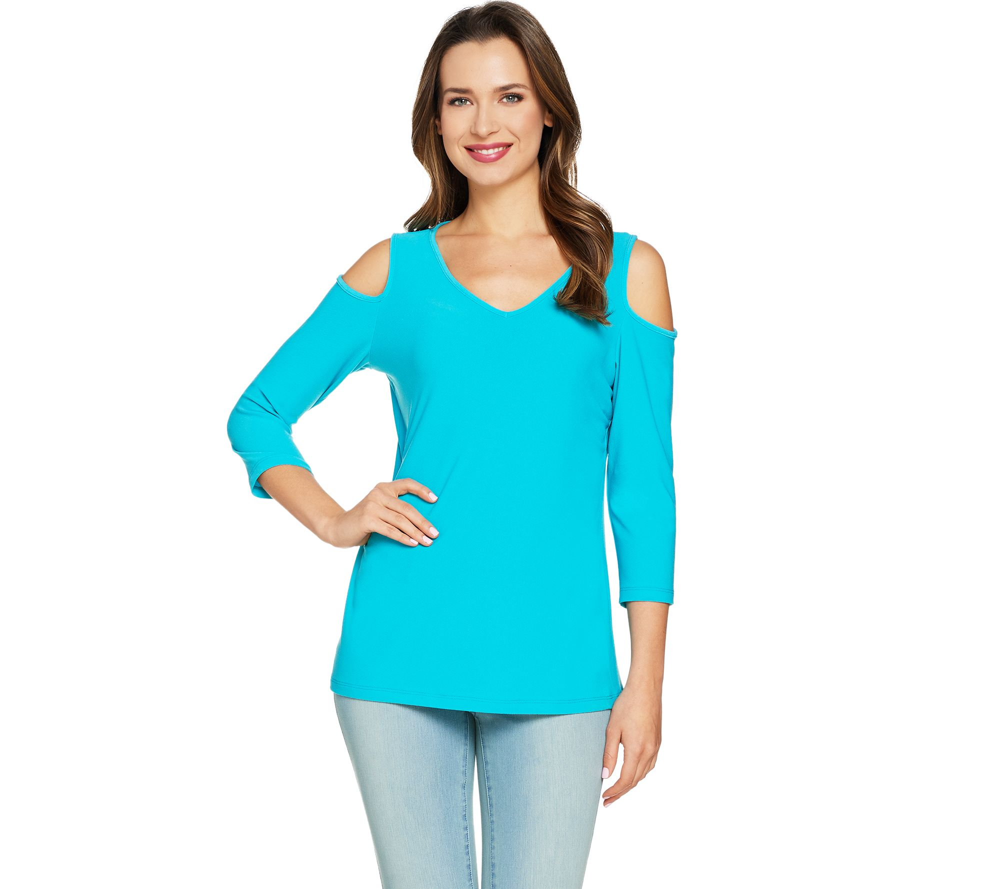 susan graver textured liquid knit cold shoulder top