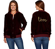 Peace Love World Velvet Bomber w/ Embroidered Affirmation - A296575