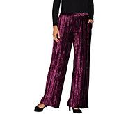 H by Halston Petite Crushed Velvet Wide Leg Knit Pants - A299075