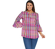 Isaac Mizrahi Live! Madras Plaid Bell Sleeve Lace-Up Blouse - A306775