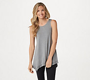 LOGO Layers by Lori Goldstein Heather Knit Tank with Ruffle Hem - A307275