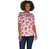 Denim & Co. Perfect Jersey Floral Cascade Boatneck Elbow- Sleeve Top - A307675