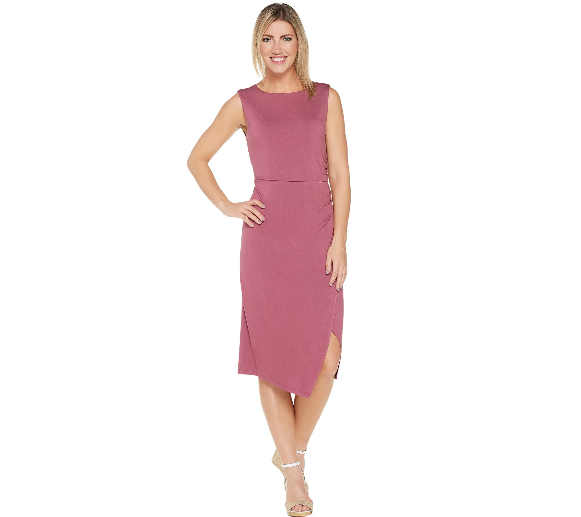 24dc66161b Lisa Rinna Collection Side Ruched Midi Dress - Page 1 — QVC.com