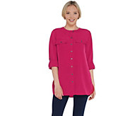 Denim & Co. Woven Long Sleeve with Roll-Tab Utility Tunic - A309275