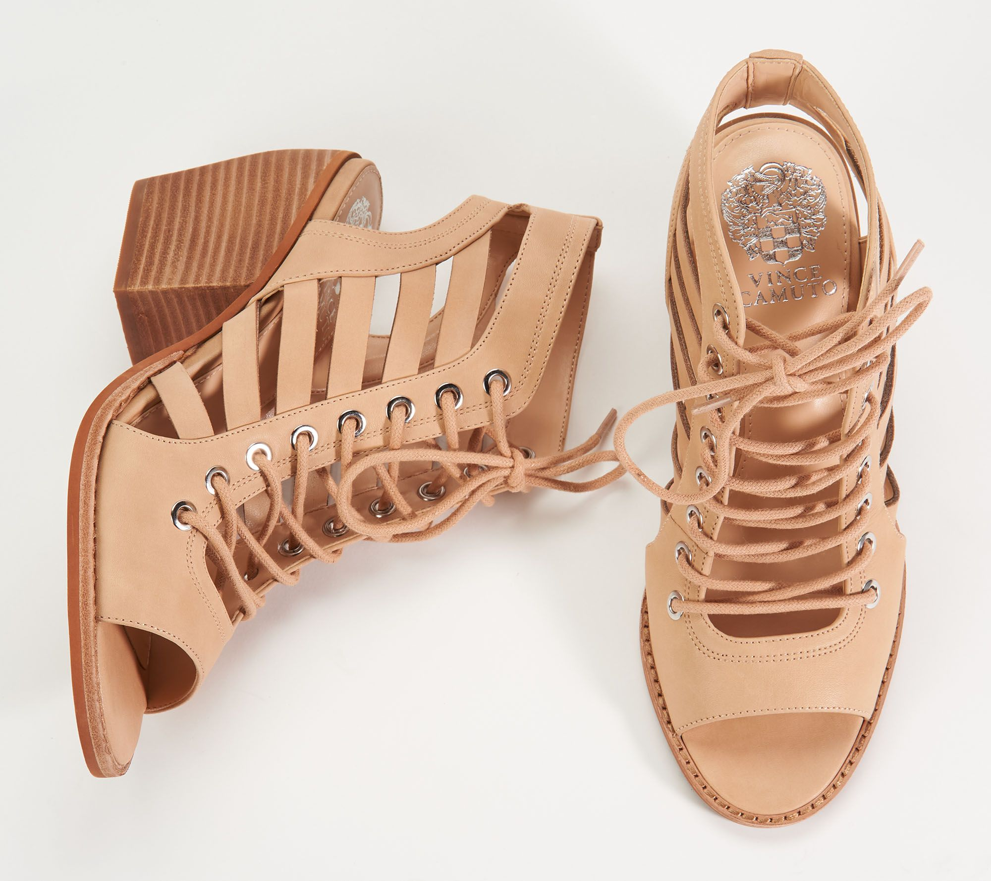 daf1038554d2 Vince Camuto Nubuck Lace-Up Heeled Sandals- Chesten - Page 1 — QVC.com