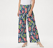 Joan Rivers Regular Floral Print Accordion Pleat Palazzo Pants - A351775
