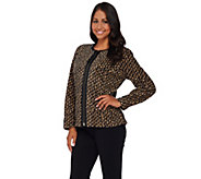 Bob Mackies Printed Fleece Jacket with Faux Leather Trim - A268376