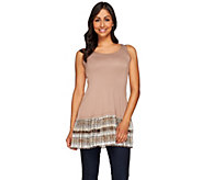 LOGO Layers by Lori Goldstein Knit Tank with Printed Chiffon Trim - A273376