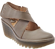 FLY London Leather Adj. Criss Cross Strap Wedges - Yogo - A274276