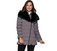 Dennis Basso Ruched Jacket with Detachable Faux Fur Collar - A285576