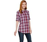 Joan Rivers Plaid Seersucker Boyfriend Shirt - A287176