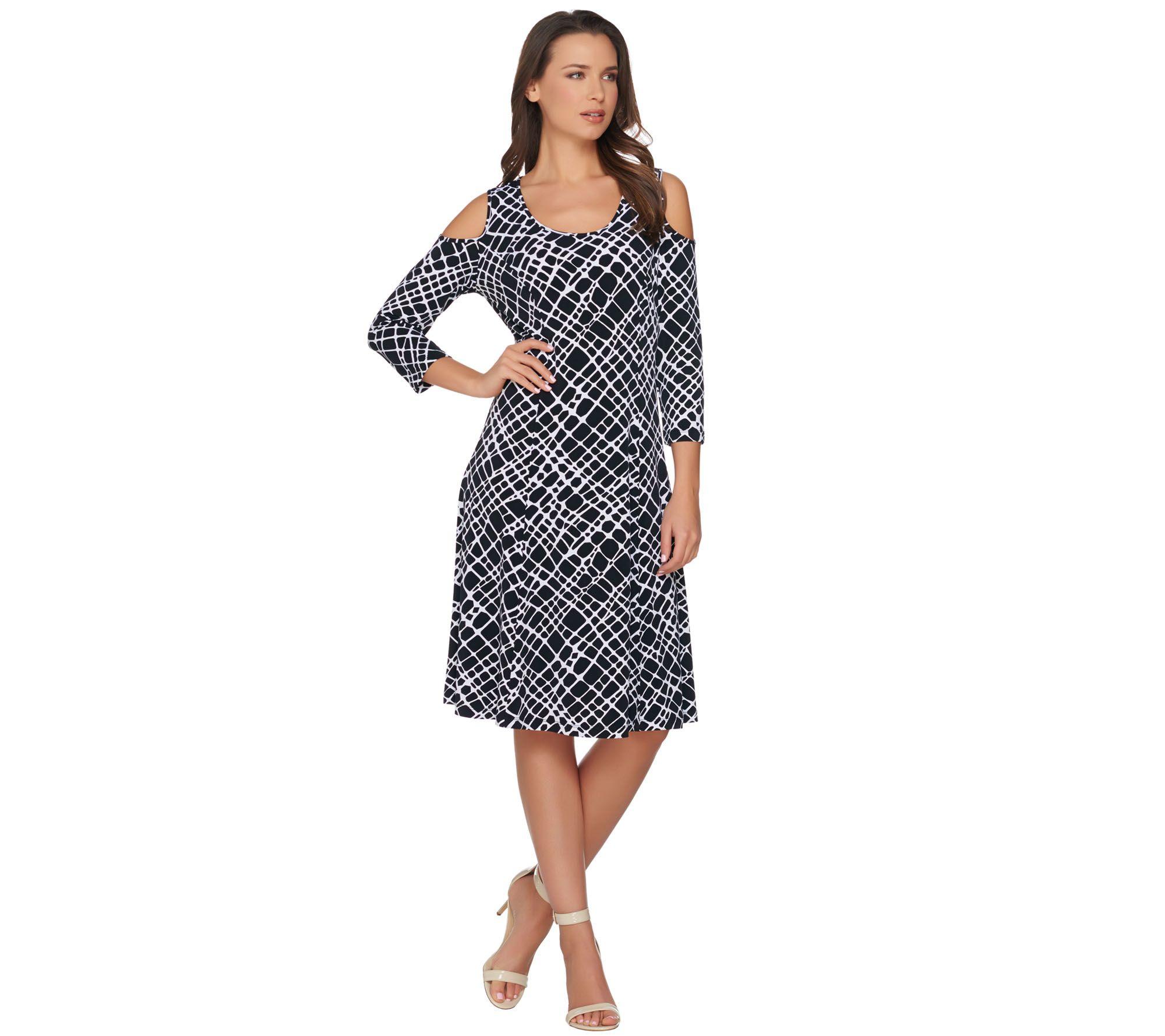 dc3fc8afc28 Susan Graver Liquid Knit 3 4 Sleeve Cold Shoulder Dress - Page 1 — QVC.com