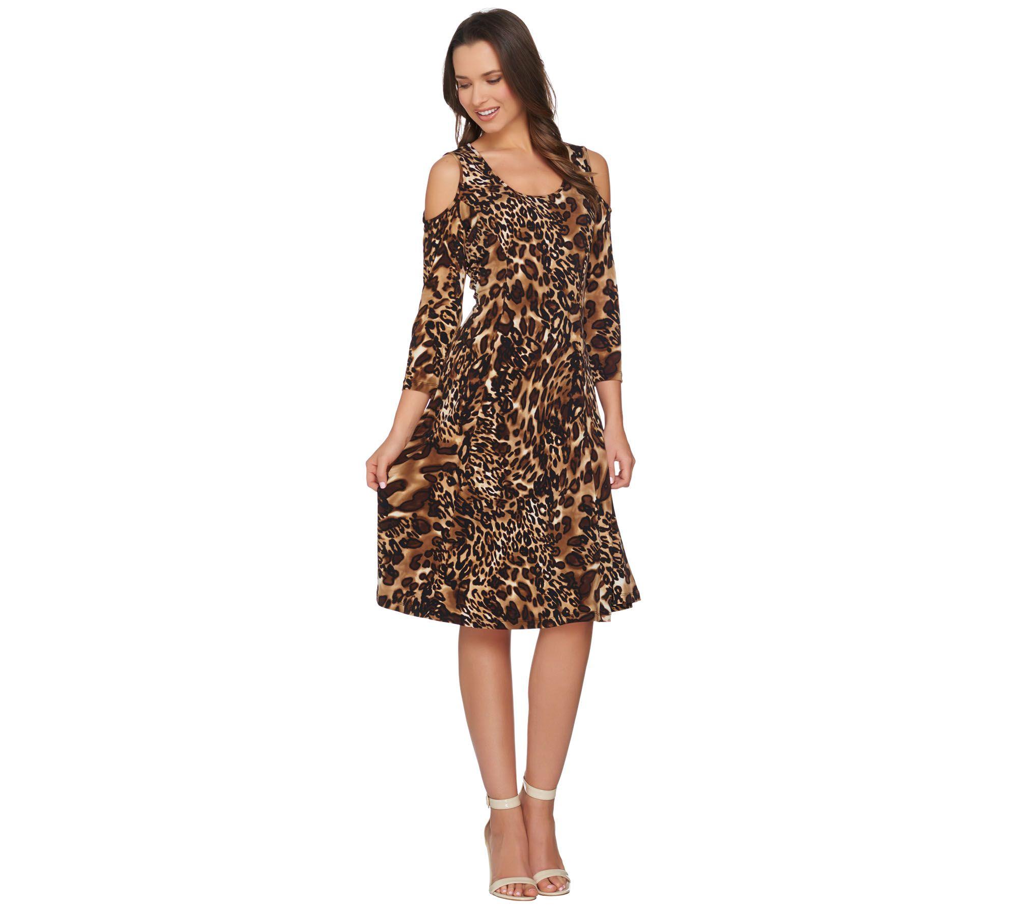 7ec85b0bbb Susan Graver Liquid Knit 3/4 Sleeve Cold Shoulder Dress - Page 1 — QVC.com