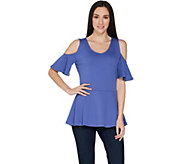 Isaac Mizrahi Live! Cold Shoulder Peplum Top - A303176