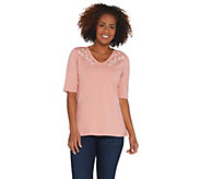 Denim & Co. Perfect Jersey Embroidered V-Neck Elbow- Sleeve Top - A307776