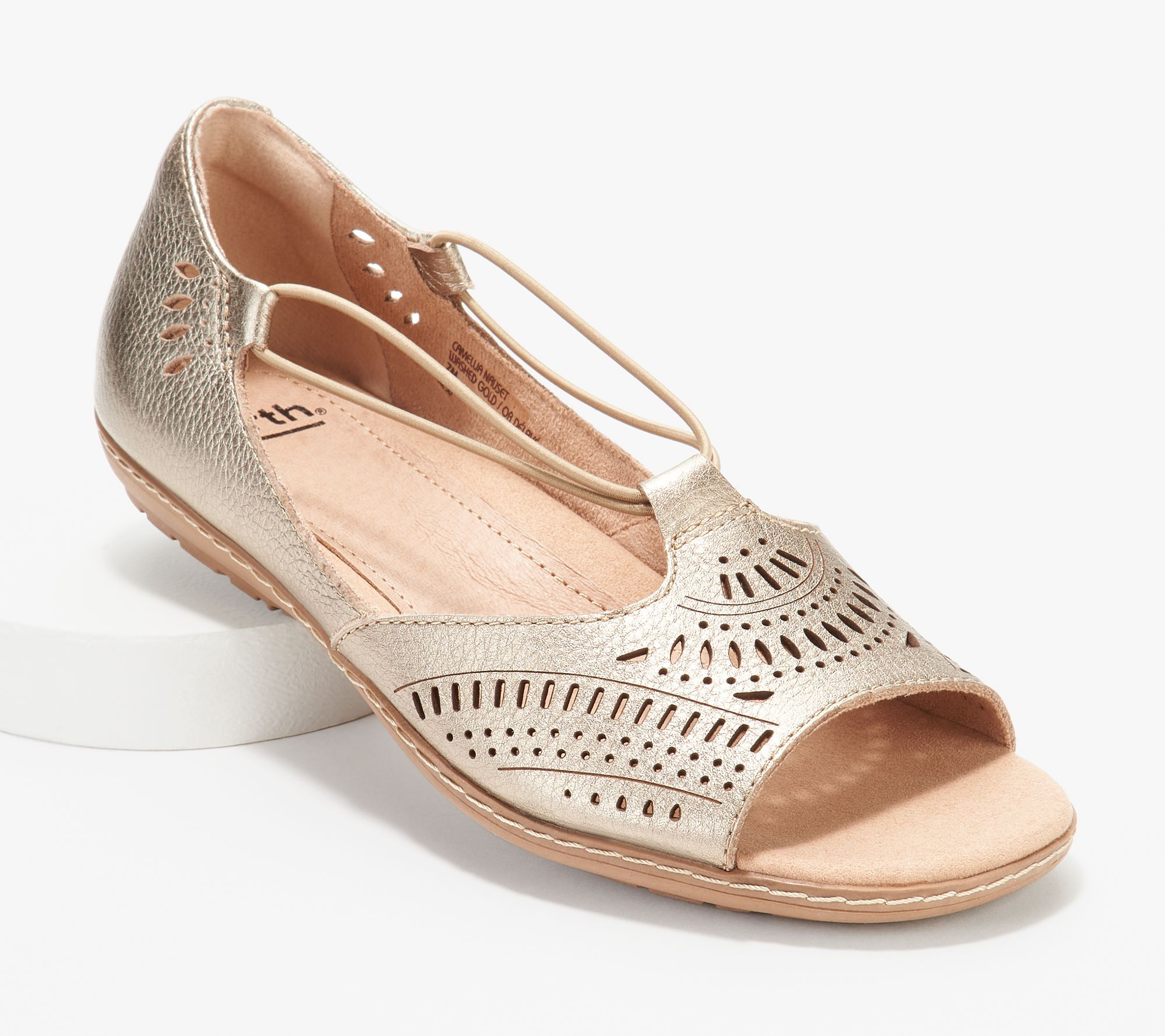 67b441c5f Earth Leather Perforated Slip-on Sandals - Camellia Nauset - Page 1 —  QVC.com