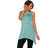 LOGO Layers by Lori Goldstein Regular V-Neck Knit Tank with Asymmetric Hem - A276777