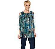 Attitudes by Renee 3/4 Sleeve Cold Shoulder Knit Tunic - A287077