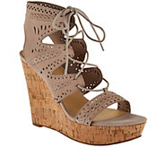Marc Fisher Perforated Suede Lace-up Wedges - Hosana - A287477
