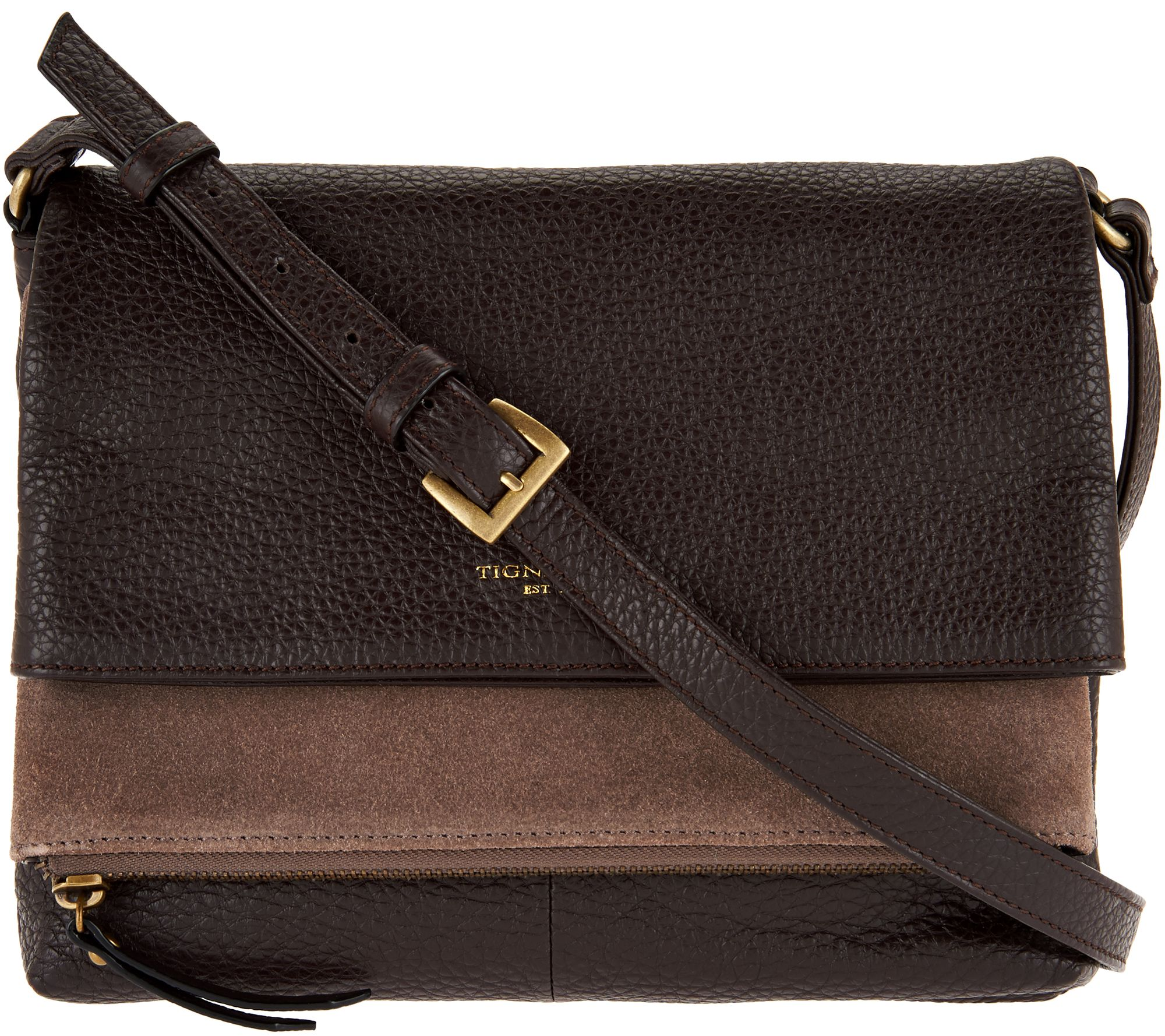 As Is Tignanello Pebble Suede Leather Multi Pckt Crossbody Page 1 Qvc