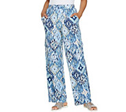 Denim & Co. Beach Regular Wide-Leg Pull-On Knit Cargo Pants - A289177