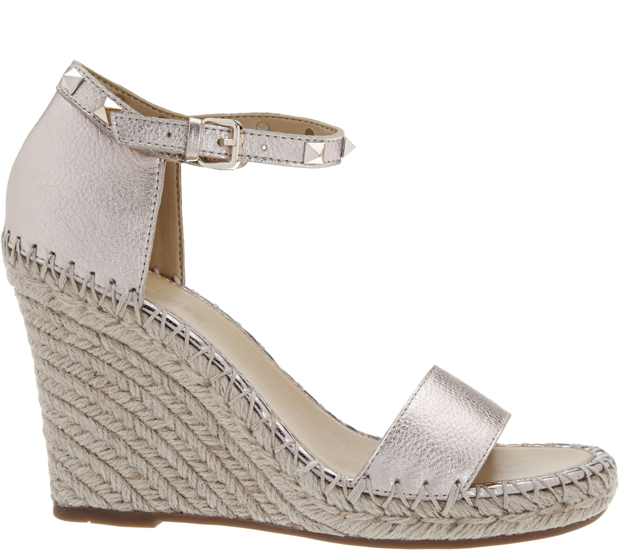 9be1403f1cf Marc Fisher Leather Espadrille Wedges - Kicker - Page 1 — QVC.com