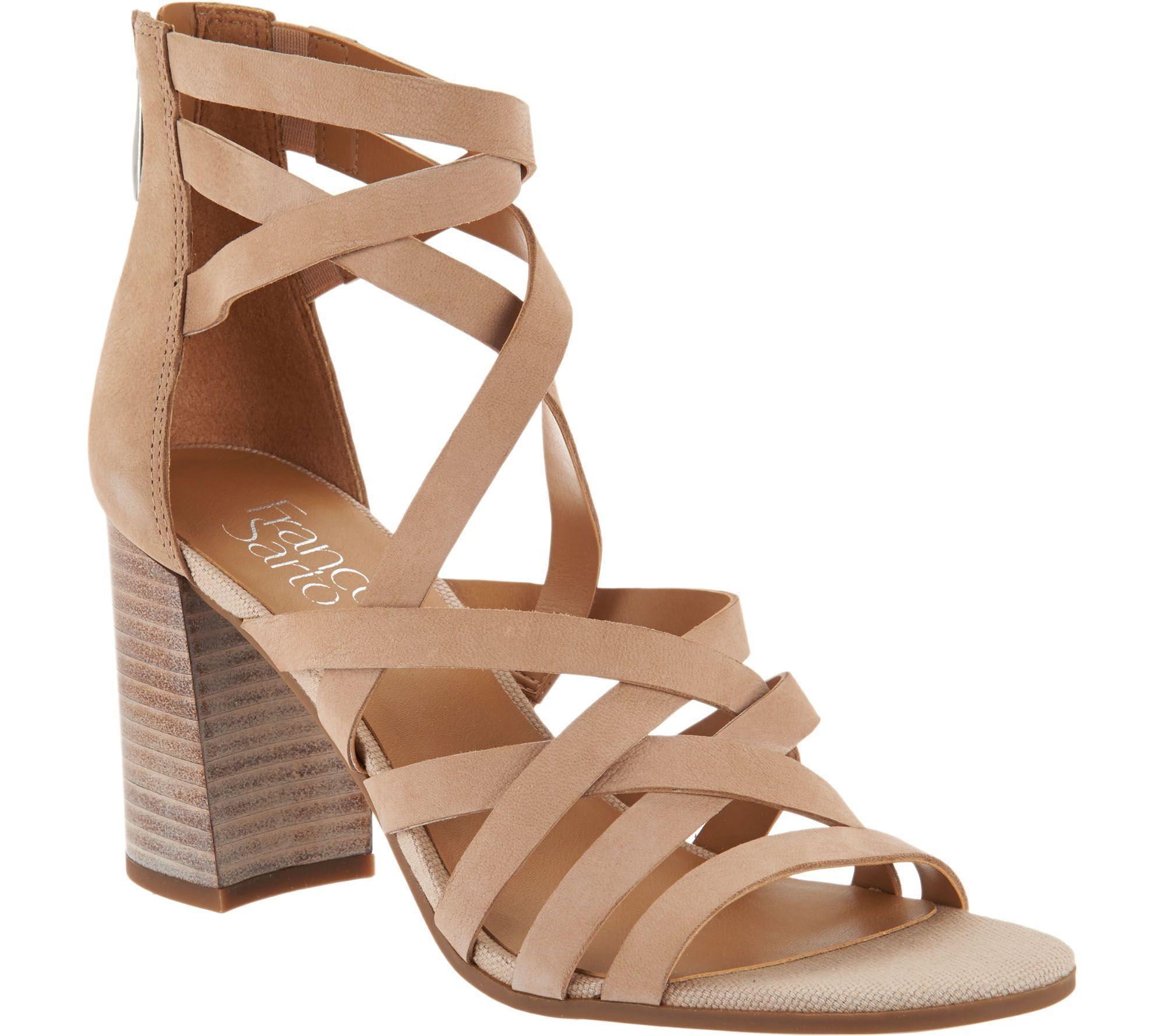 7c2441ad56 Franco Sarto Leather Block Heel Sandals - Madrid - Page 1 — QVC.com