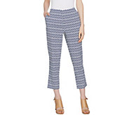Dennis Basso Printed Stretch Cotton Sateen Cropped Pants - A291577
