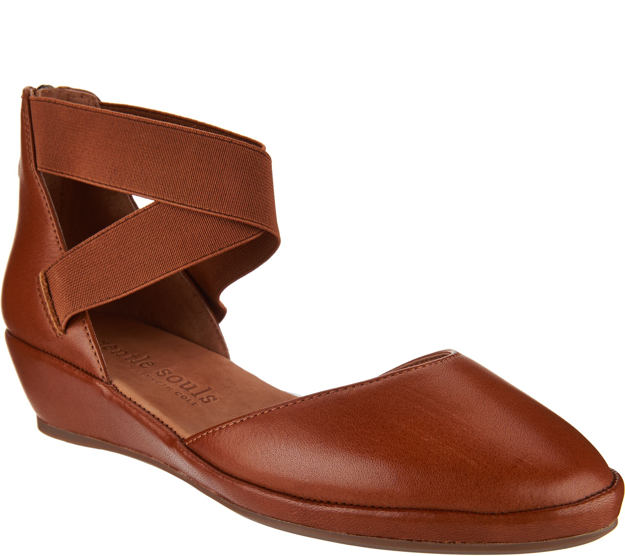 293e9f38a0 Gentle Souls Leather Two Piece Wedges - Noa - Page 1 — QVC.com