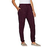 LOGO by Lori Goldstein Space Dye Jogger Pants w/ Suede Trim - A294677