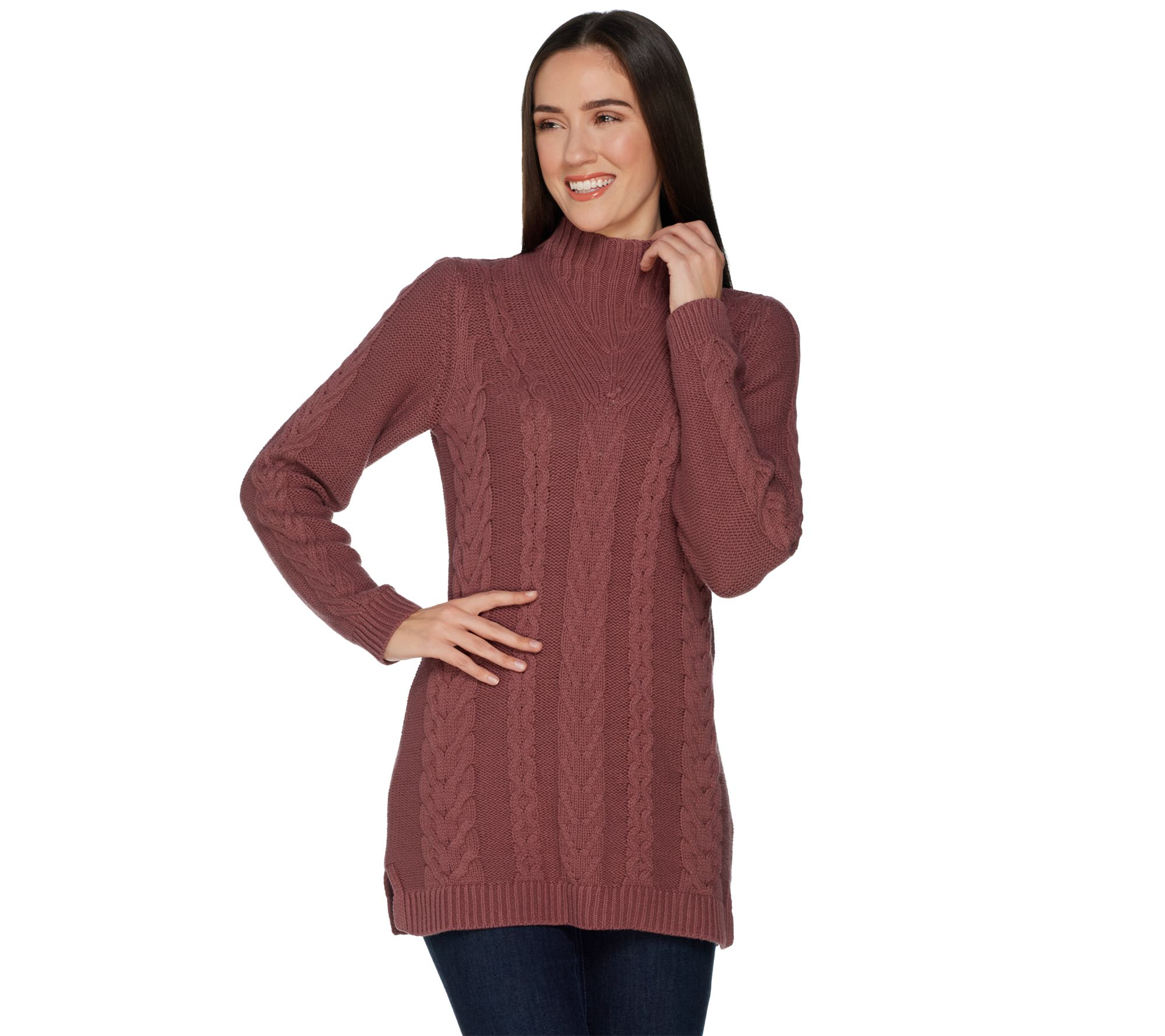 ee60fd9ef41 Denim   Co. Petite Mock Neck Cable Knit Tunic Sweater - Page 1 — QVC.com