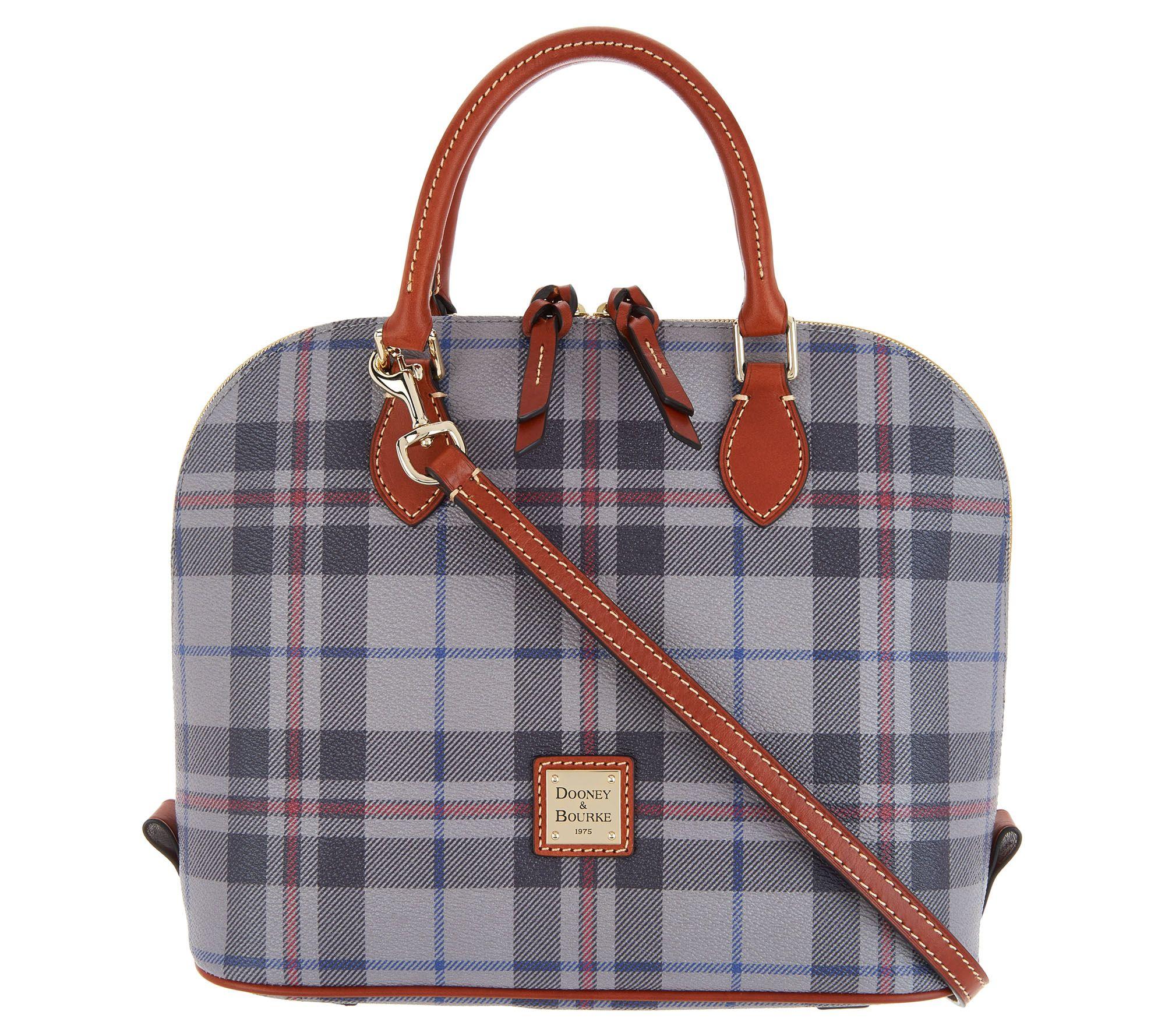 Dooney Bourke Tiverton Plaid Zip Satchel Handbag Page 1 Qvc