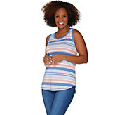 Isaac Mizrahi Live! TRUE DENIM Striped Tank Top - A303577