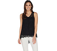 Attitudes by Renee Sleeveless Lace Top w/ Hi-Low Hem - A305377